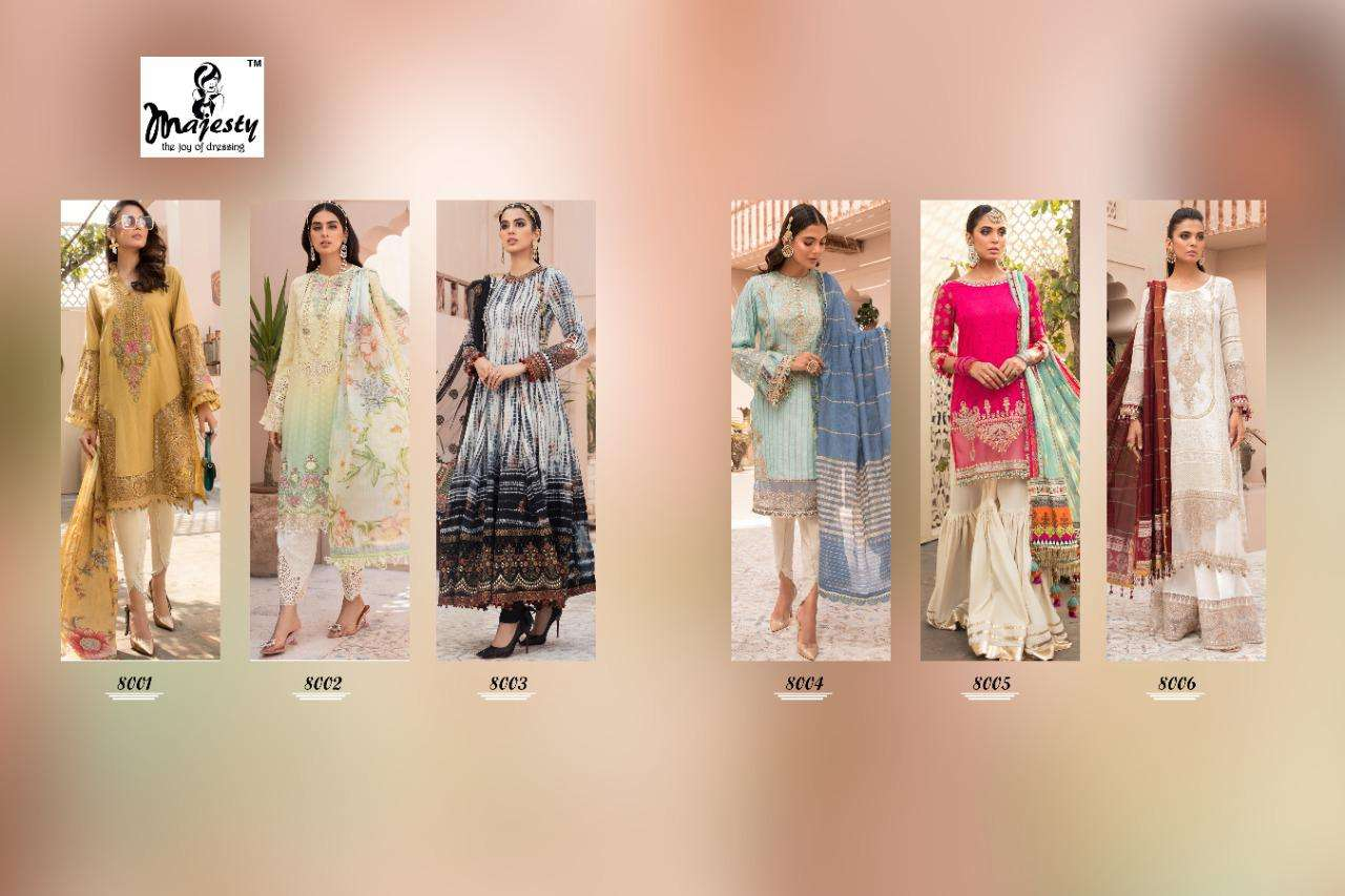Majesty Maria B Vol 8 Jam silk Cotton With Patch Embroidery Work Pakistani Suits Collection