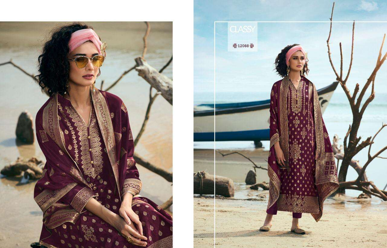 Meera Trendz Zisa Traditional Pure Dola Jacquard Dress Material Collection