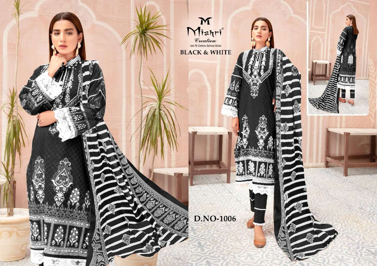 Mishri Creation Black And white Pure Cotton With Karachi Printed Dress Material Collection