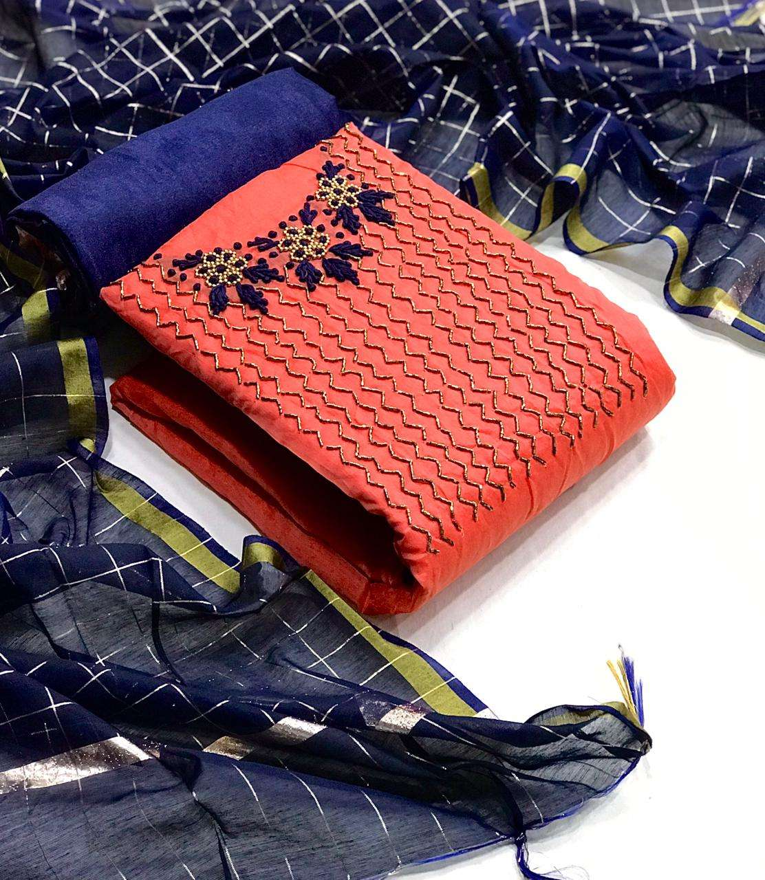 Modal Chanderi Silk With Handwork Dress Material Collection