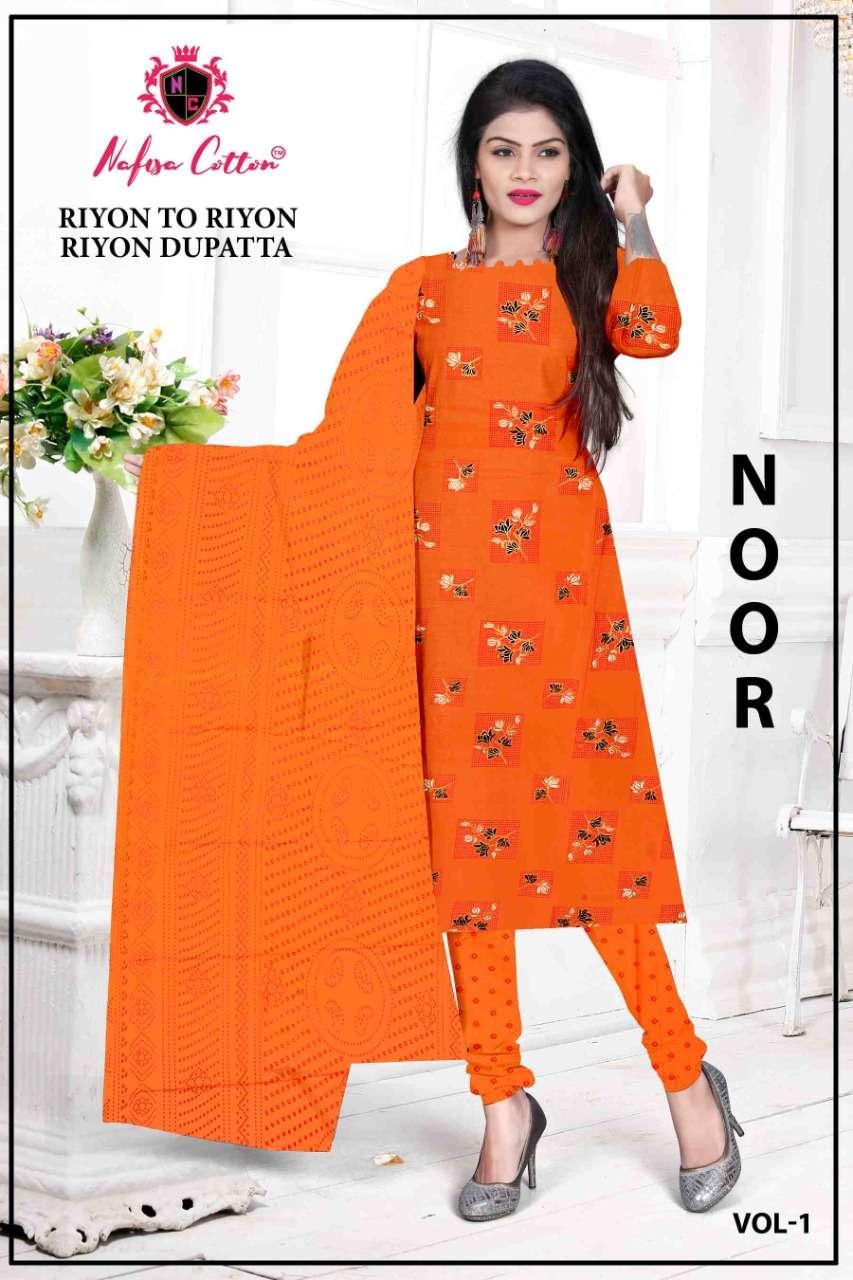 Nafisa Cotton Noor rayon Printed Regular Wear Dress Material Collection