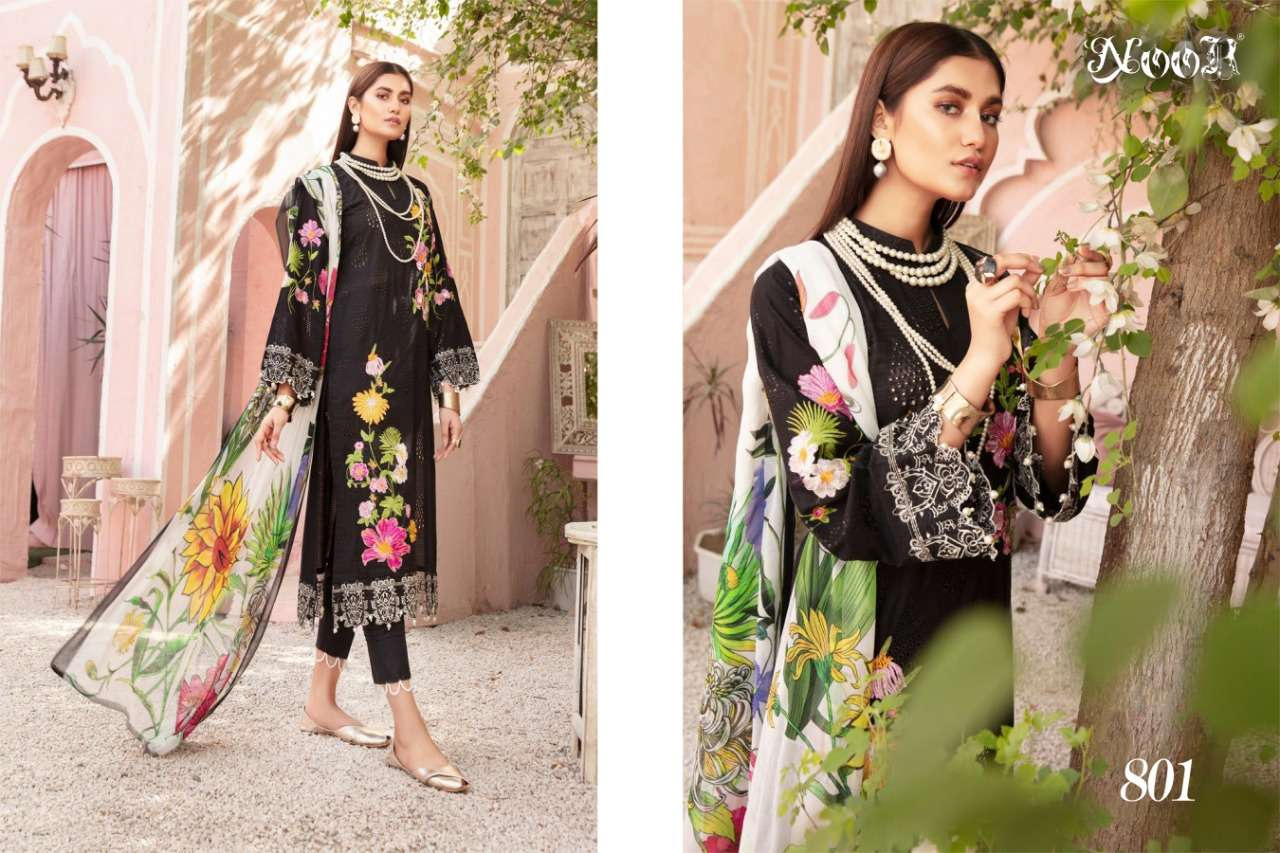 Noor Textile Mina Pure Cotton With Self Embroidery Work Pakistani Suits Collection