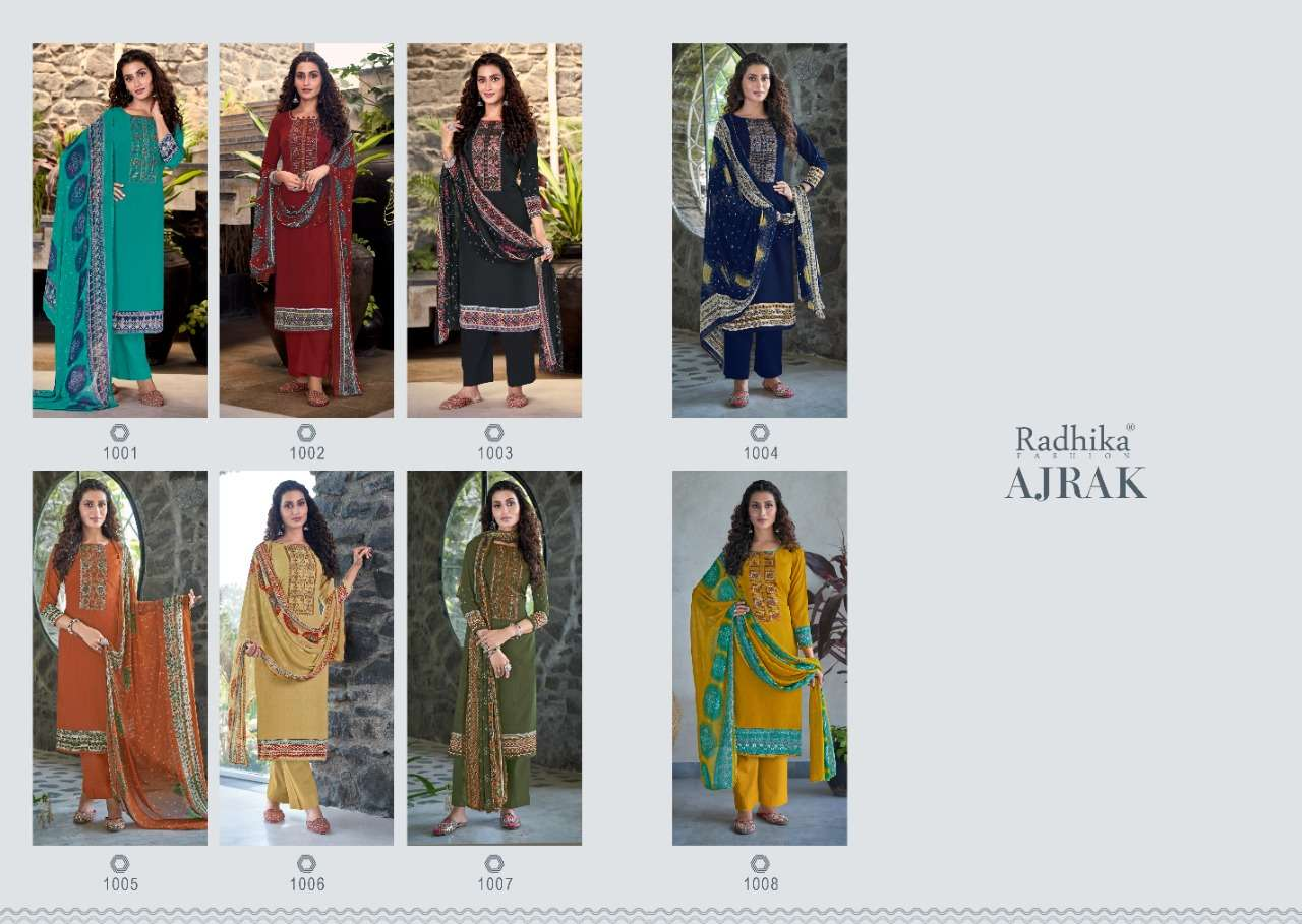 Radhika Fashion Azara Ajrak French Crepe Print With Embroidery Work dress Material Collection
