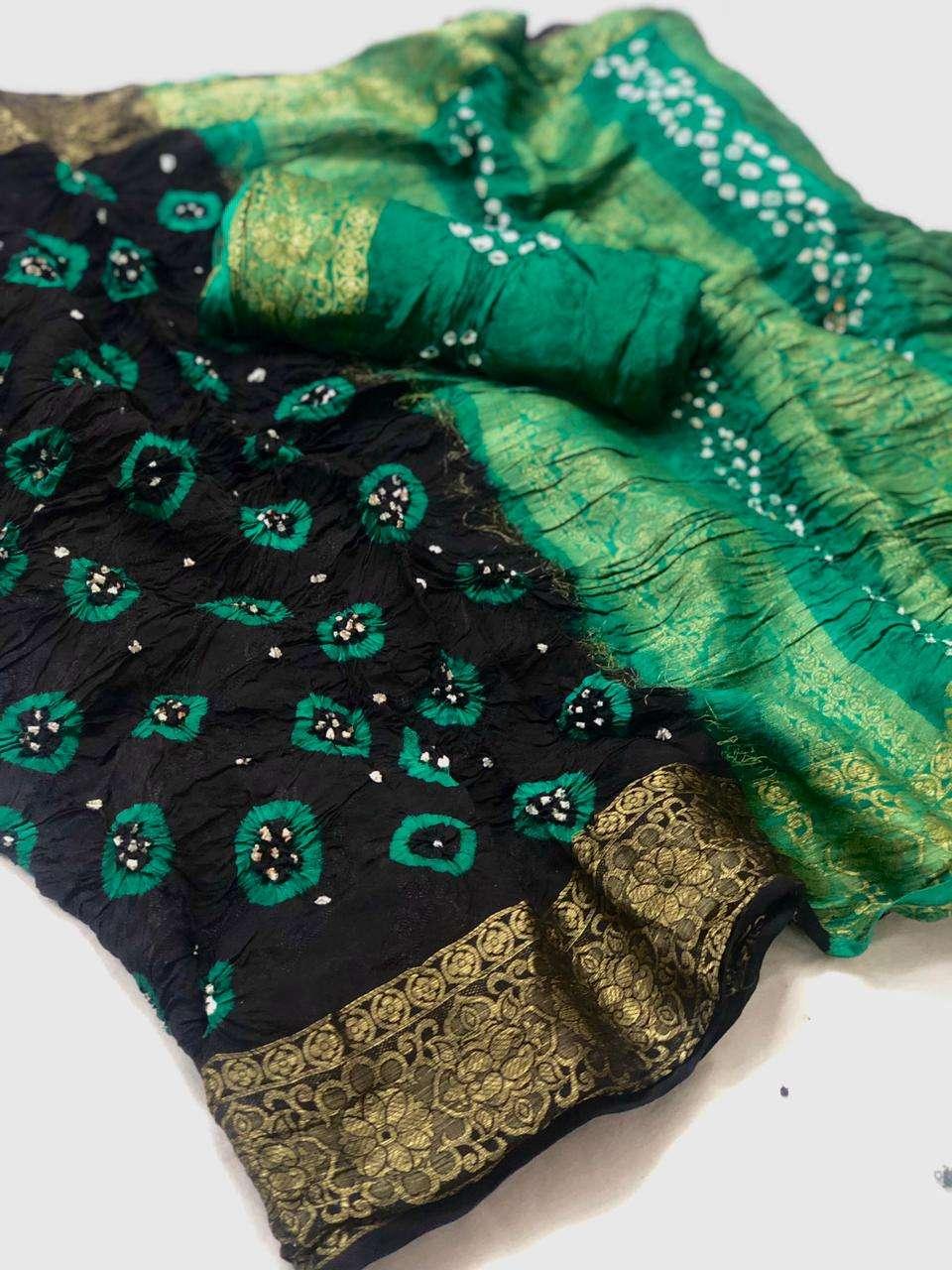 Ruvani Silk Viscose Bandheni print Sarees Collection