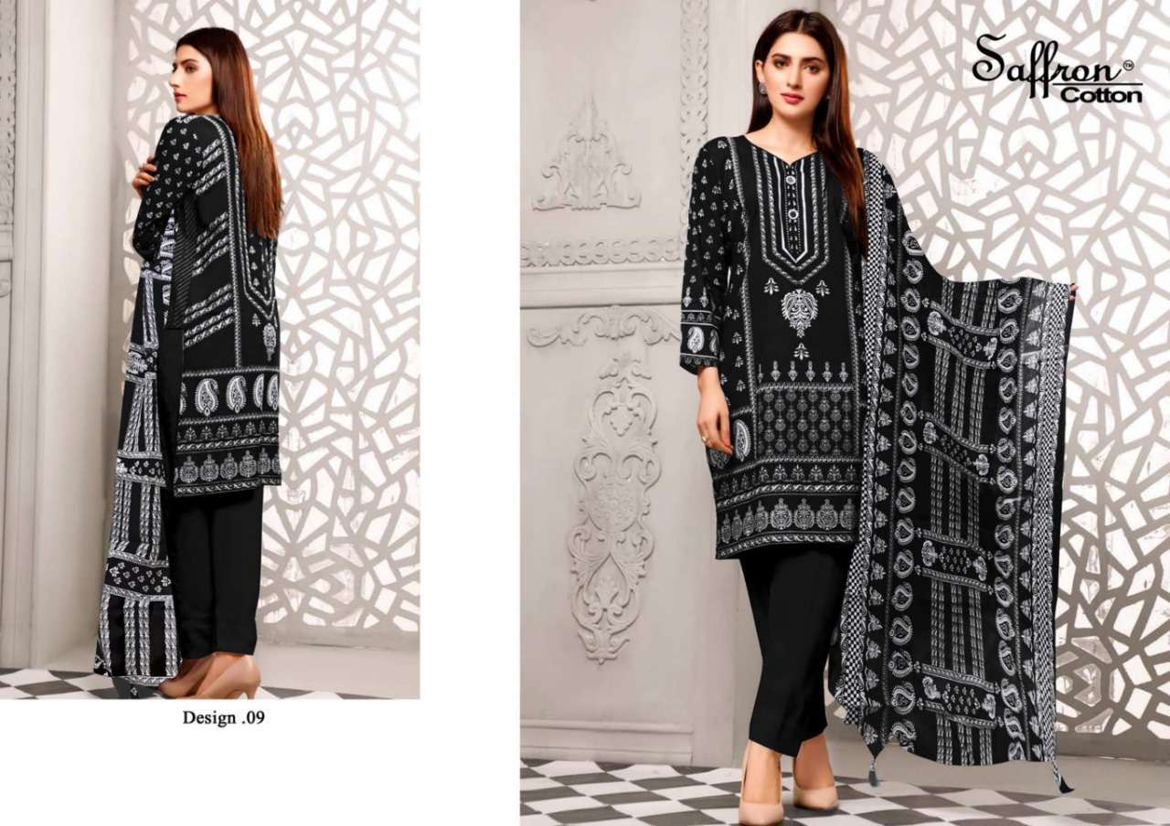 Saffron Cotton Black And White Printed Collection Cotton Dress material Collection