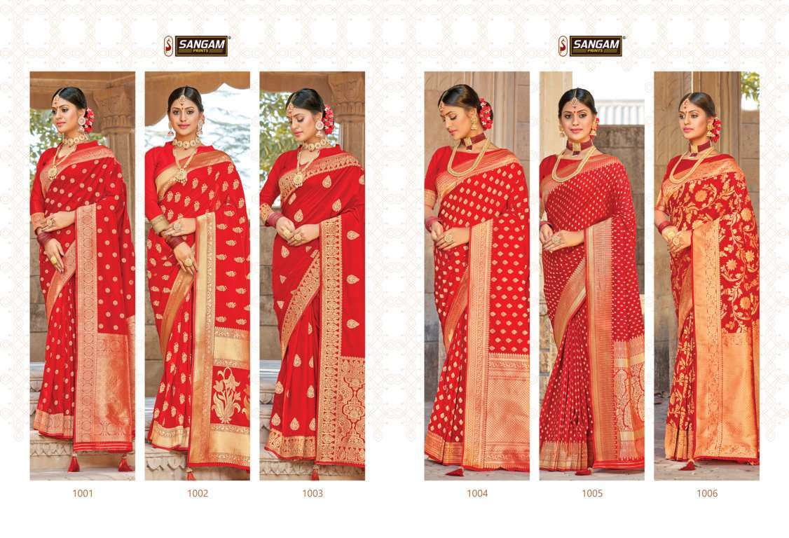 Sangam Prints Red Rose Vol 2 Pure Silk Traditional Sarees Collection