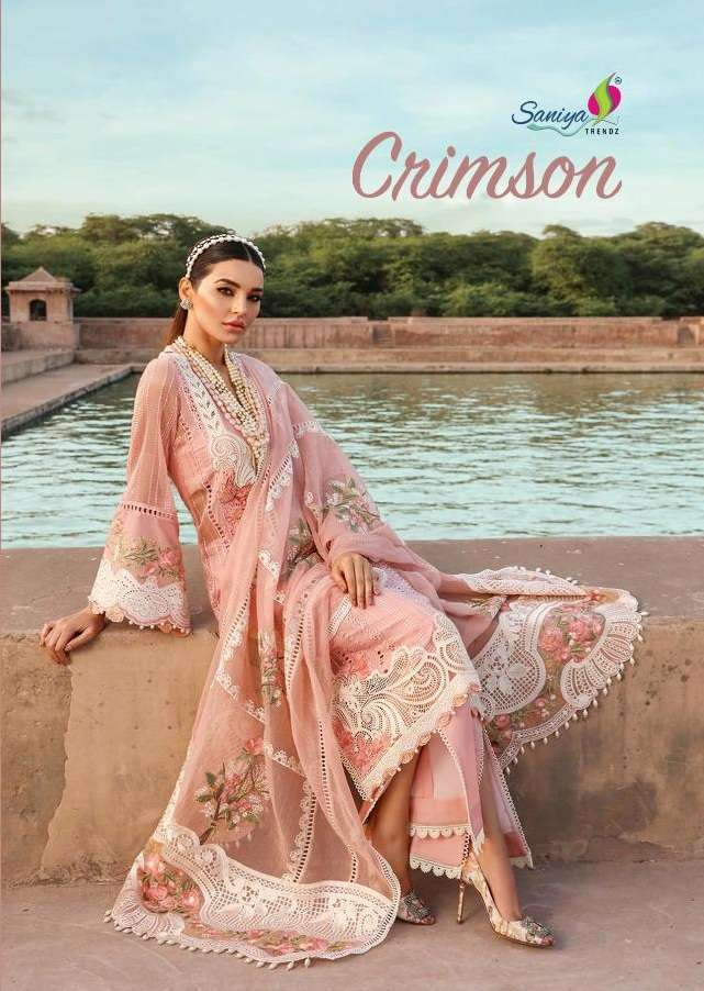 Saniya Trendz Crimson Vol 21 Cambric Cotton With Chicken Kari Work Pakistani Suits Collection