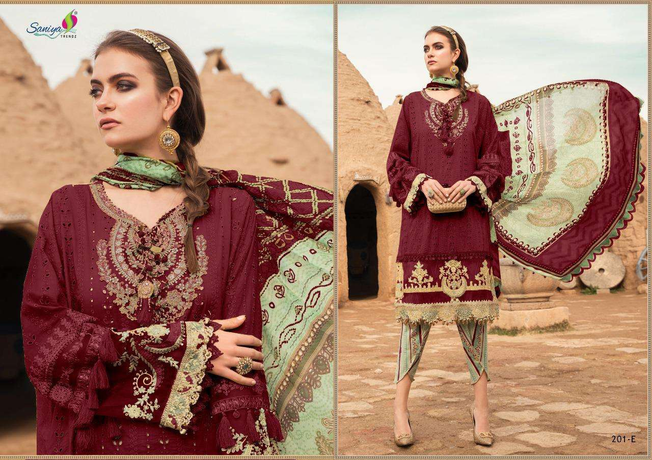 Saniya Trendz Maria b Lawn 2021 Cambric Cotton Printed Chicken kari Work With Embroidery patch work Pakistani Suits Collection