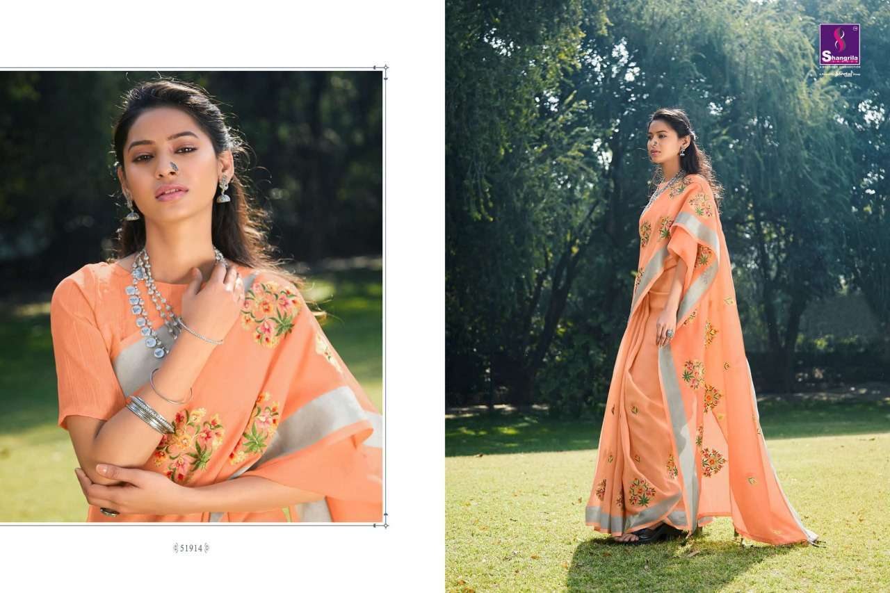 Shangrila Suhani Soft pure linen With Zari Work Sarees Collection
