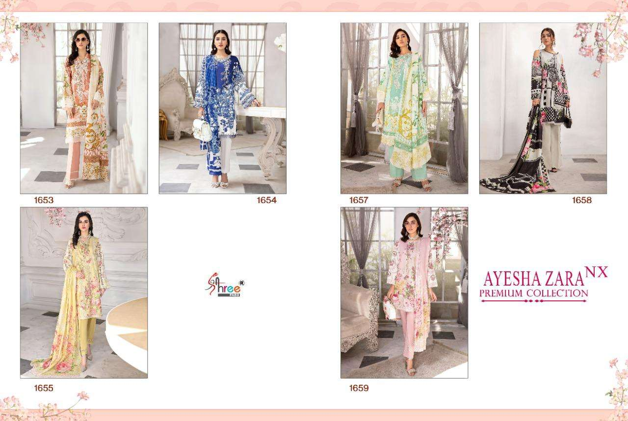 shree Fabs Ayesha Zara Premium Collection NX Pure Cotton Print With Embroidery Patch Work pakistani Suits Collection