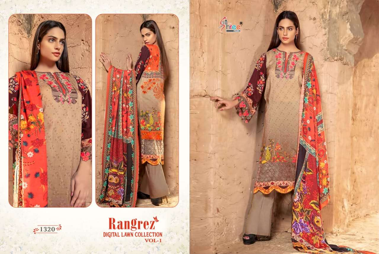 Shree Fabs Rangrez Digital Lawn Collection Vol 2 Pure lawn Digital Print with Embroidery Patch Work Pakistani Dress Material Collection