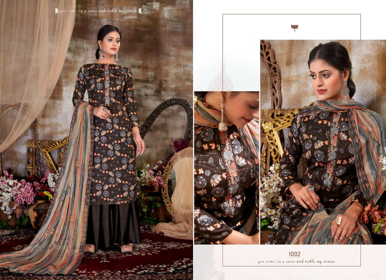 Siyona Sophie Glace Cotton Digital Print With Embroidery Work Dress Material Collection