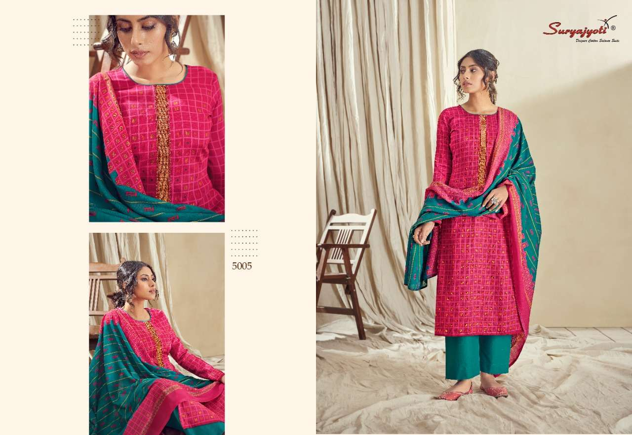 Suryajyoti Noreen Vol 5 satin cotton with Embroidery Work Dress Material Collection
