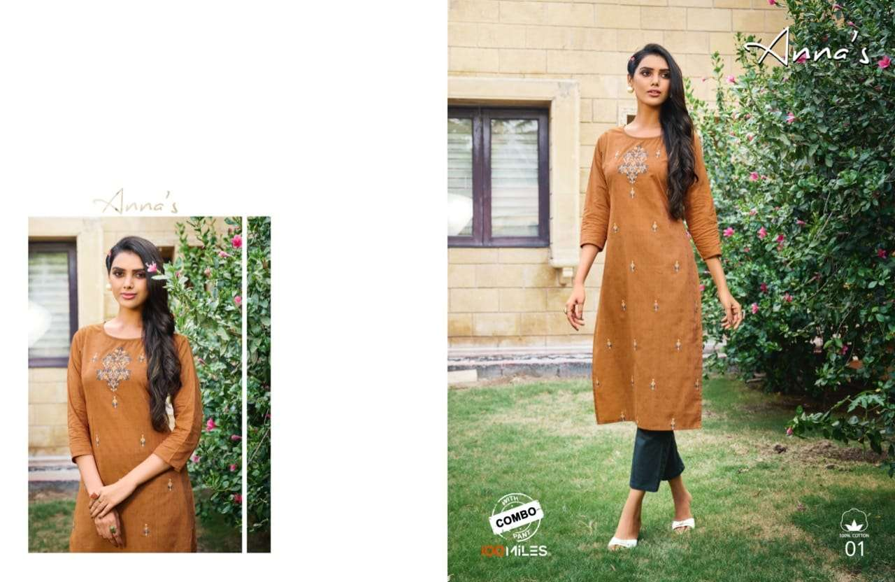 100 Miles Annas Cotton With Embroidery Work Kurti With Pant Collection