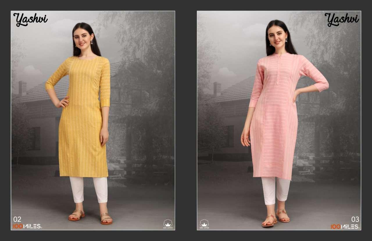 100 Miles Yashvi Cotton Regular Wear Kurtis collection