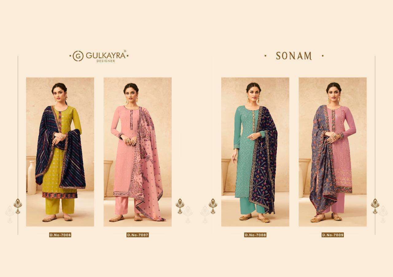Aashirwad Creation Gulkayra Sonam Real Georgette With Work Dress Material Collection
