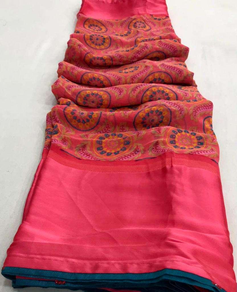 Akira Georgette with Satin patta Regular Wear Sarees Collection
