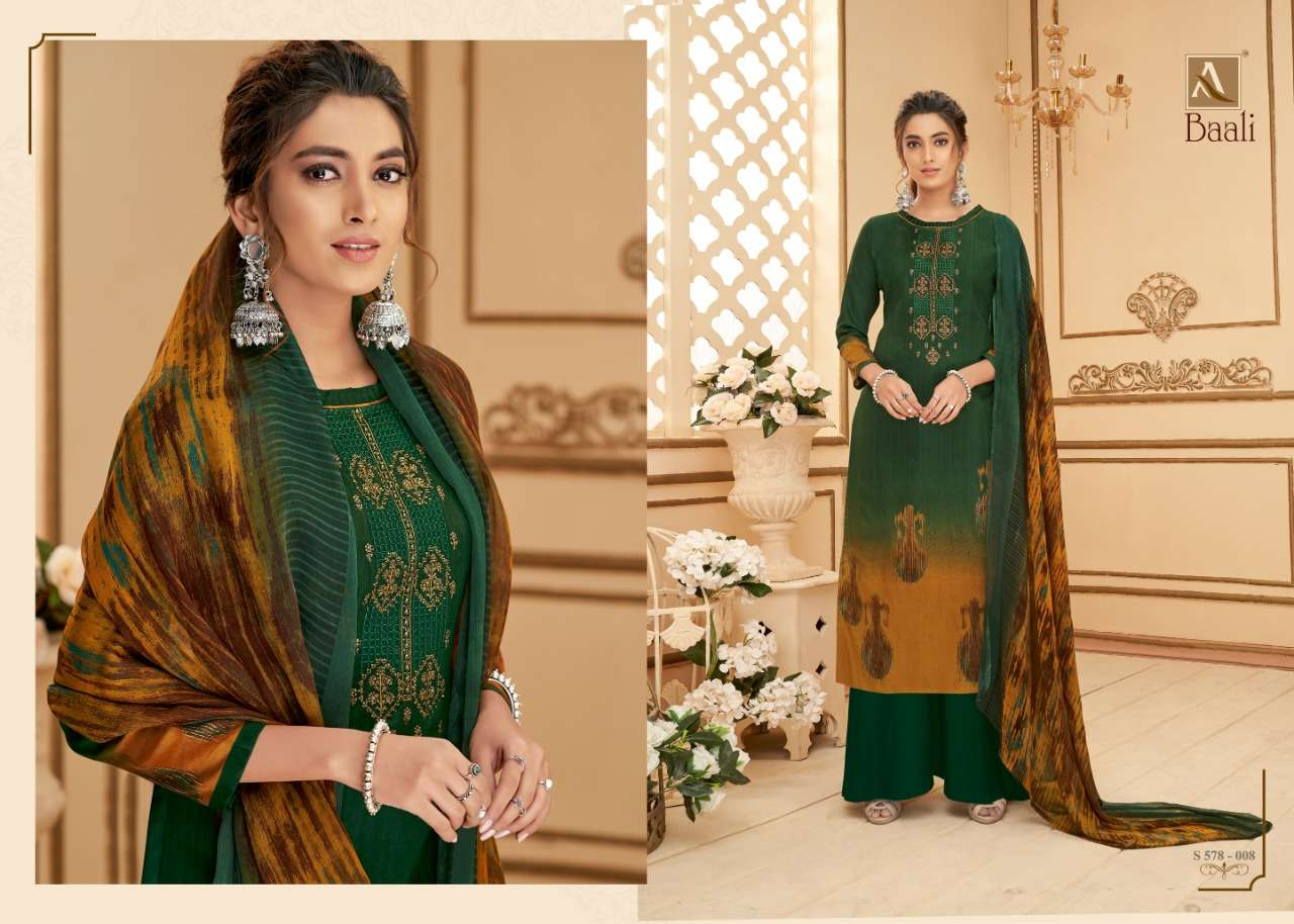 Alok suits Baali Pure jam Digital Print With Fancy Embroidery Swarovski Diamond Work Dress Material Collection
