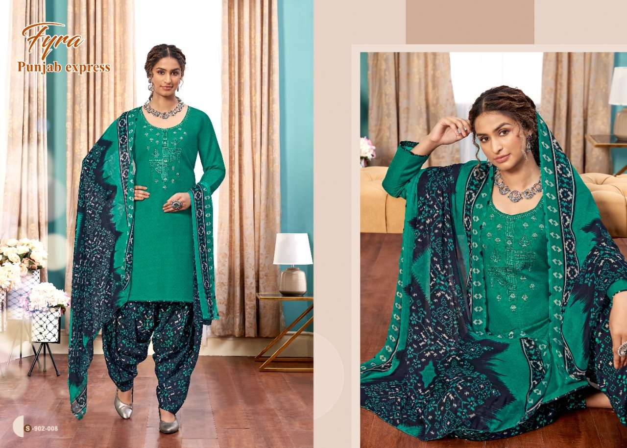 Alok suits Fyra Punjab Express Soft Cotton Print With Thread Embroidery With Swarovski Work Dress Material Collection