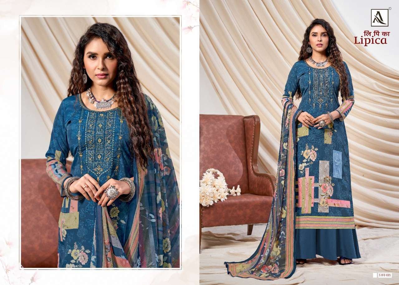 Alok Suits Lipica French Crepe Digital print Embroidery Work With Swarovski Diamond Work Dress Material collection