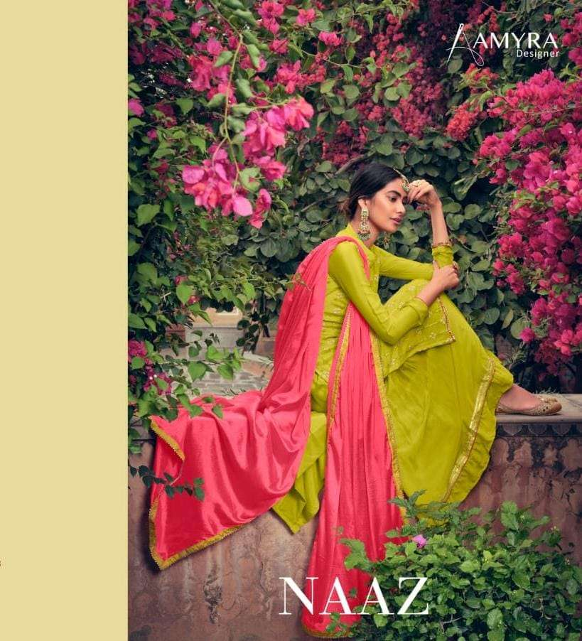 Amyra Designer Naaz Pure heavy Viscose Chinon With Heavy Embroidery Work dress Material collection