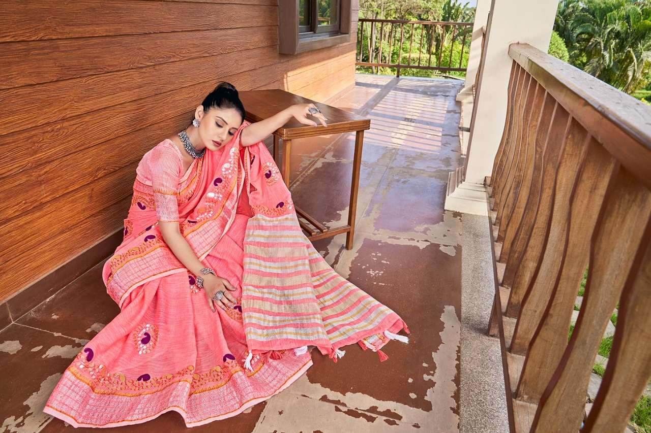 andaz Soft Linen With Beautiful Gotapatti Border Sarees collection