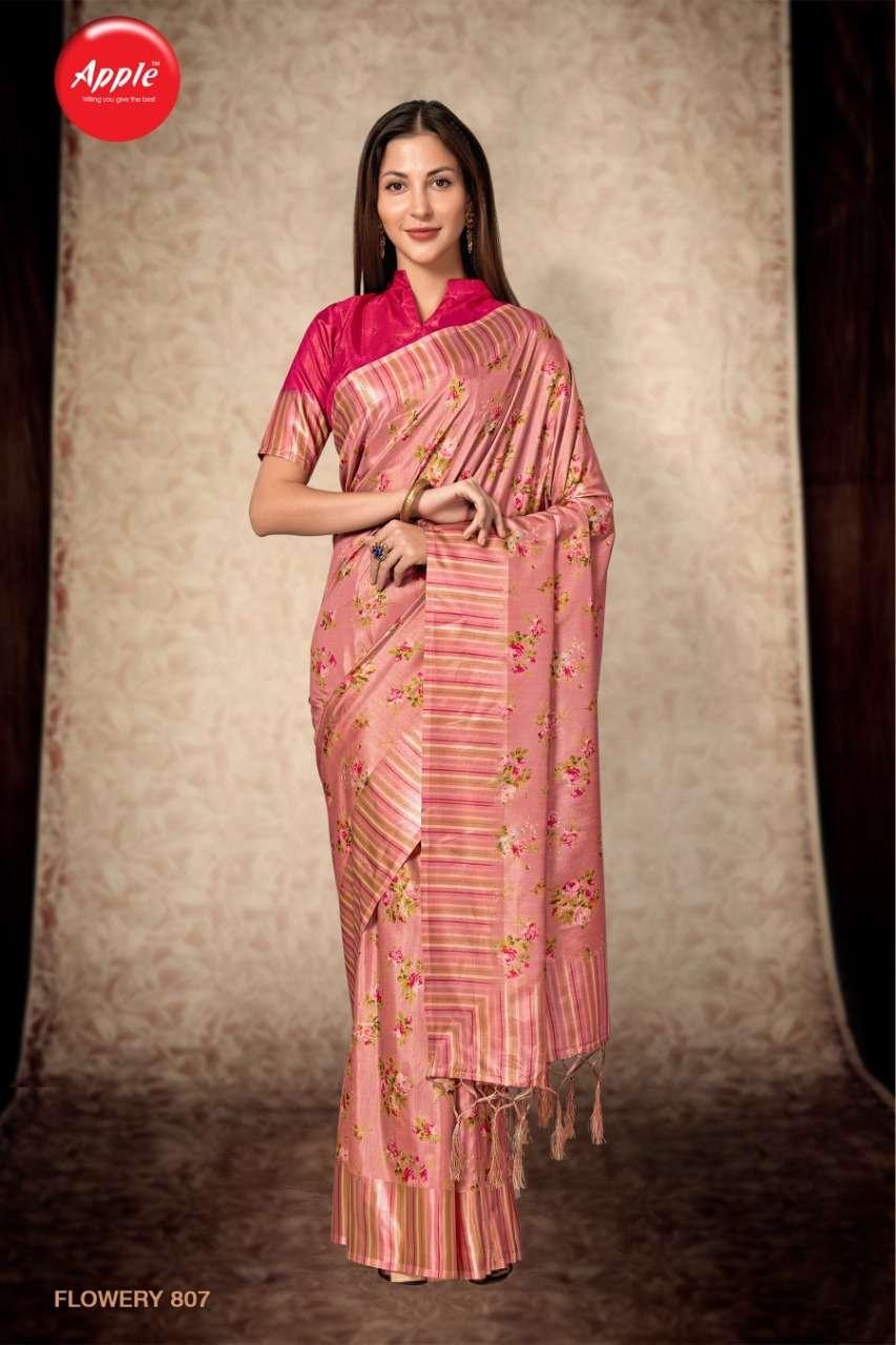Apple Flowery Vol 8 Dola silk With Satin border Sarees collection