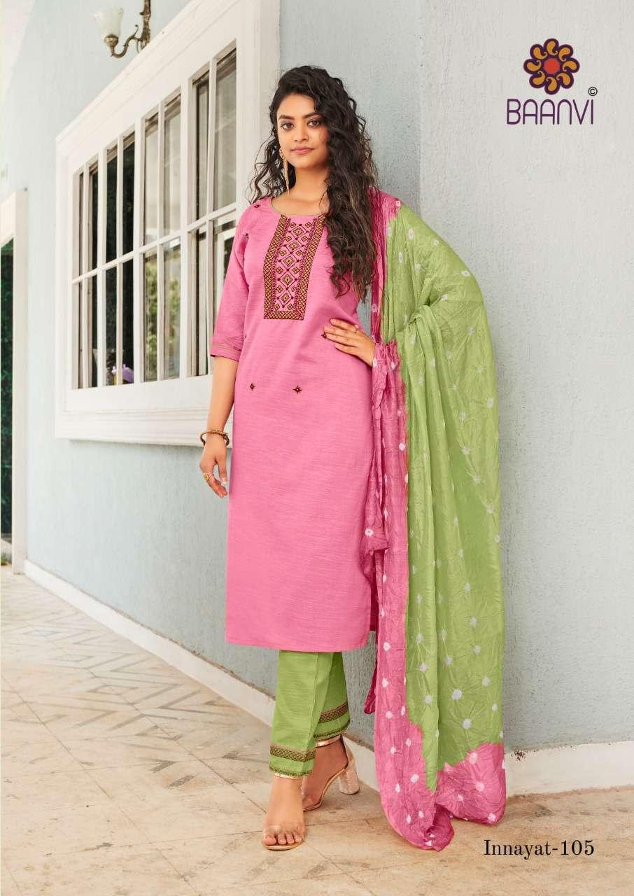 Baanvi innayat Vol 1 Cotton With Embroidery work Kurti With Pant dupatta collection