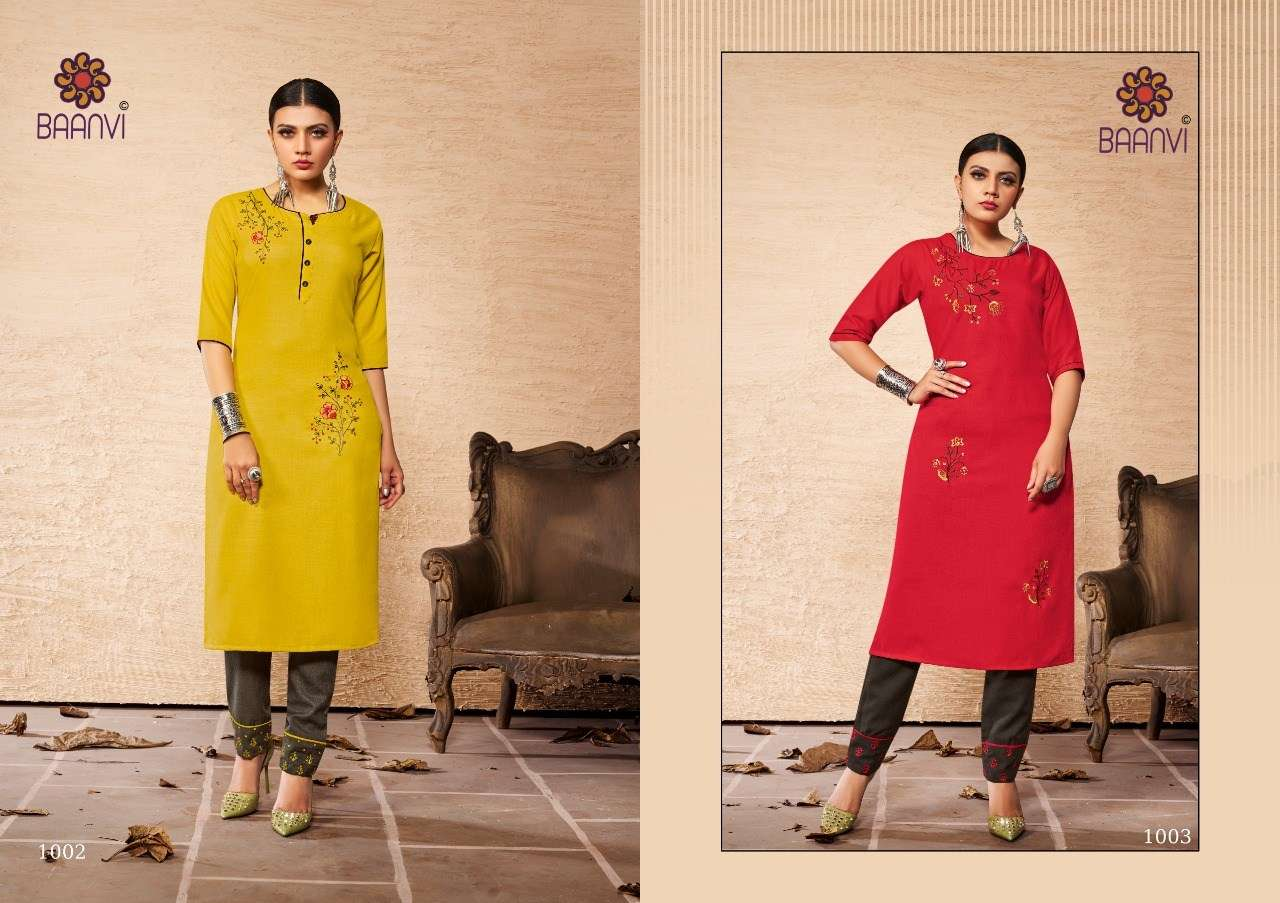 Baanvi rangoli vol 1 cotton with Embroidery Work Kurti with Pant Collection