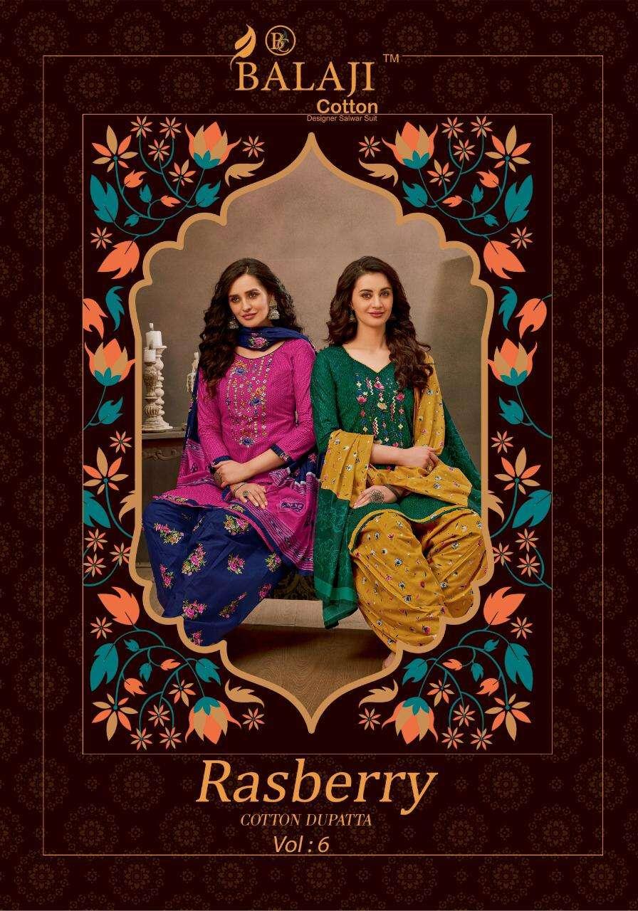 Balaji Cotton Rasberry Patiyala Vol 6 Cotton With Embroidery work Dress Material Collection