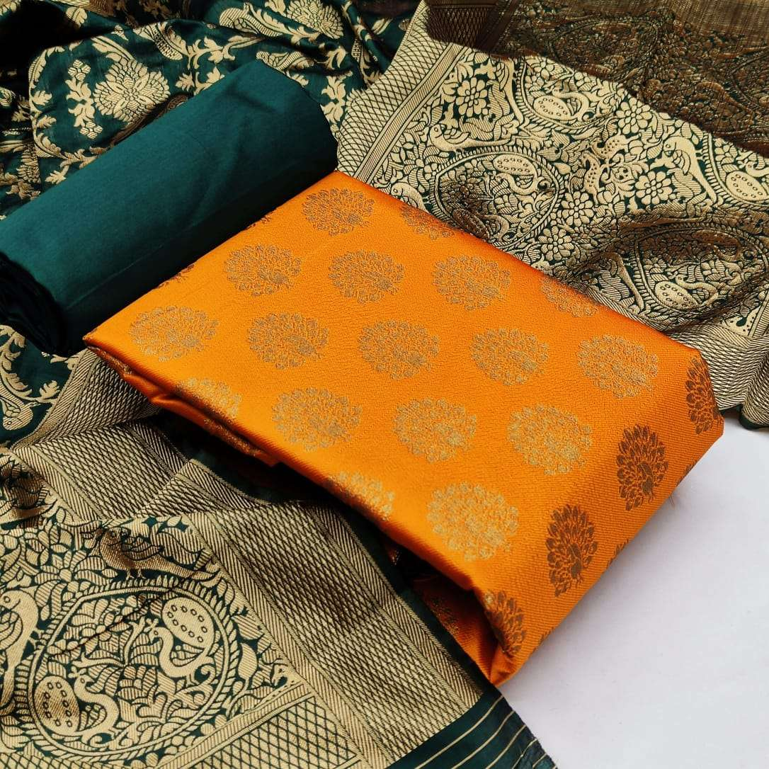 Banarasi Silk With Jacquard Weaving designer Dress material collection