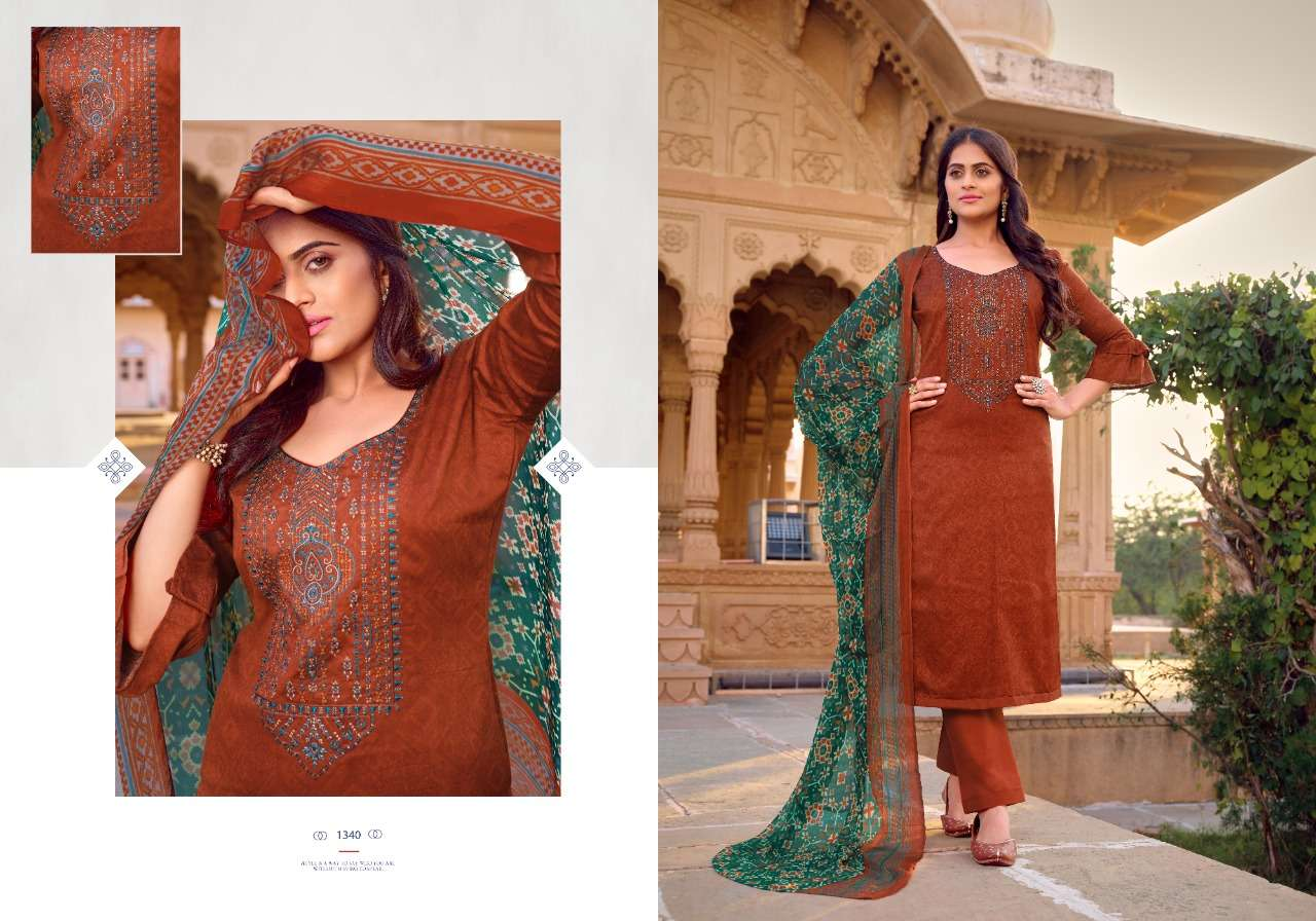 Bipson Kadhai jam Satin print With embroidery Work Dress material collection