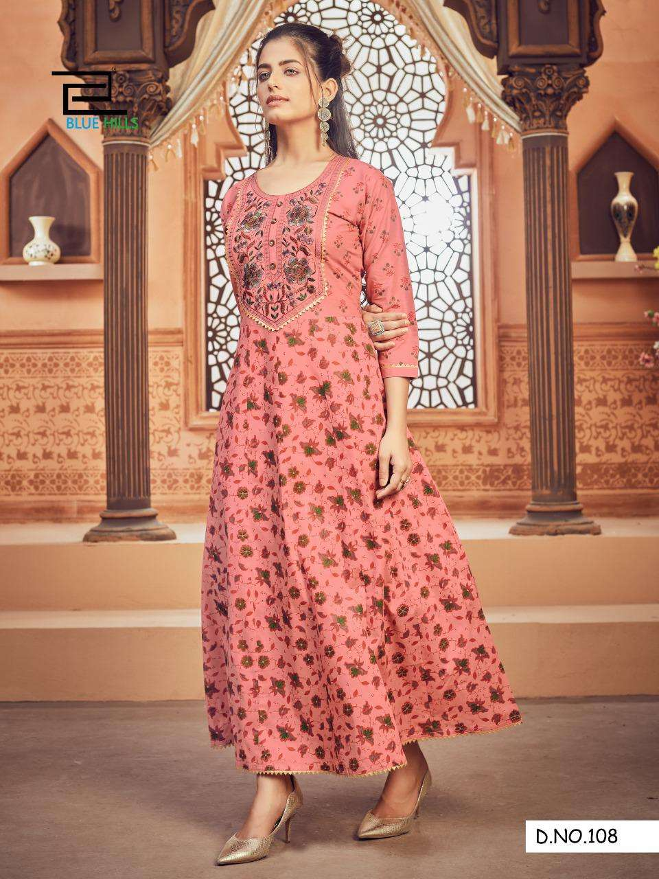 Blue Hills Ada Vol 1 Cambric cotton Anarkali Style Long Gown style Kurtis Collection