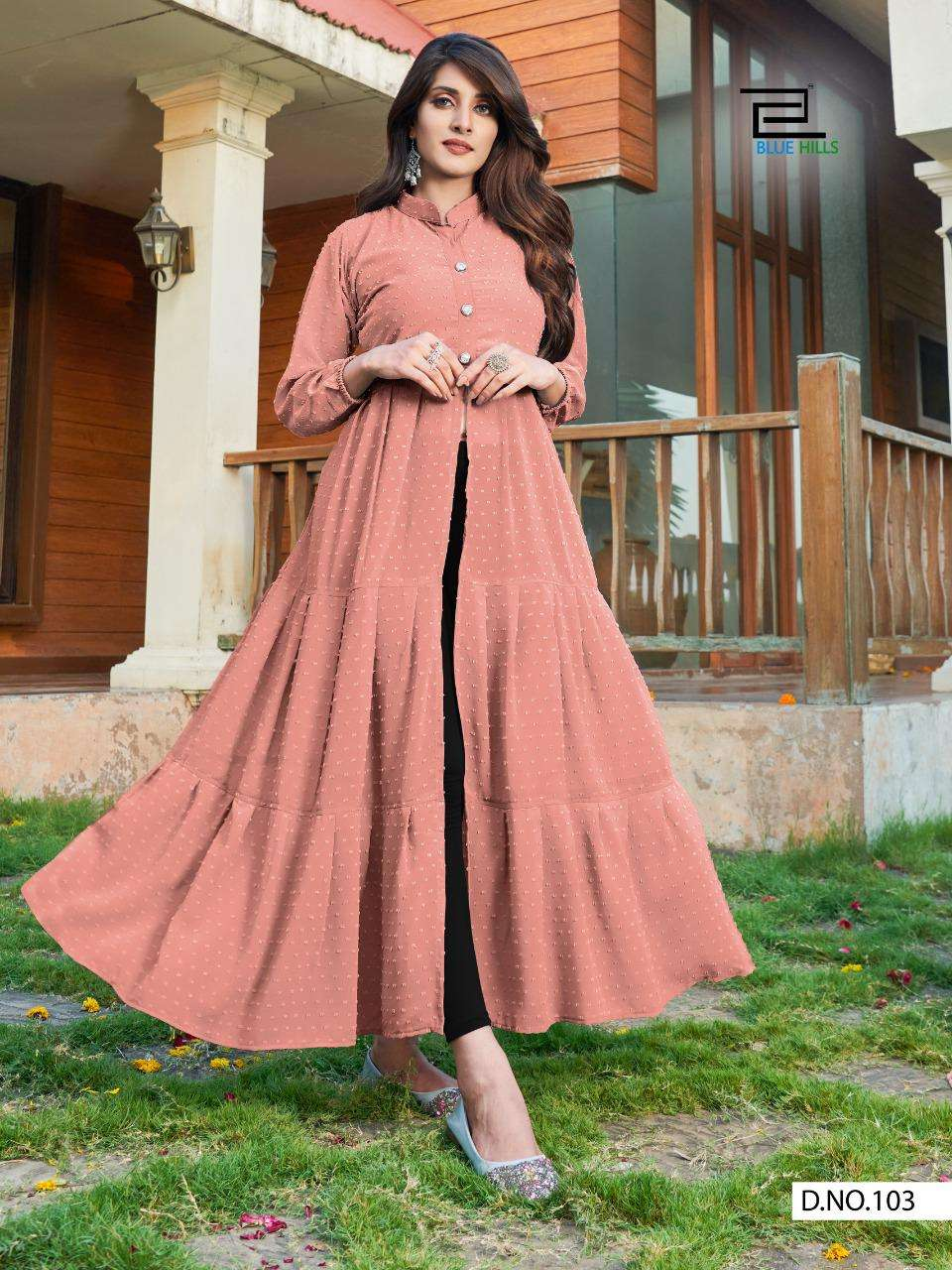 Blue Hills Amayra Georgette With Butti Work Kurtis collection