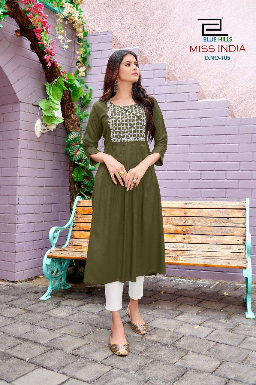 Blue Hills Miss India Vol 1 Rayon Cotton With Embroidery work Kurtis collection