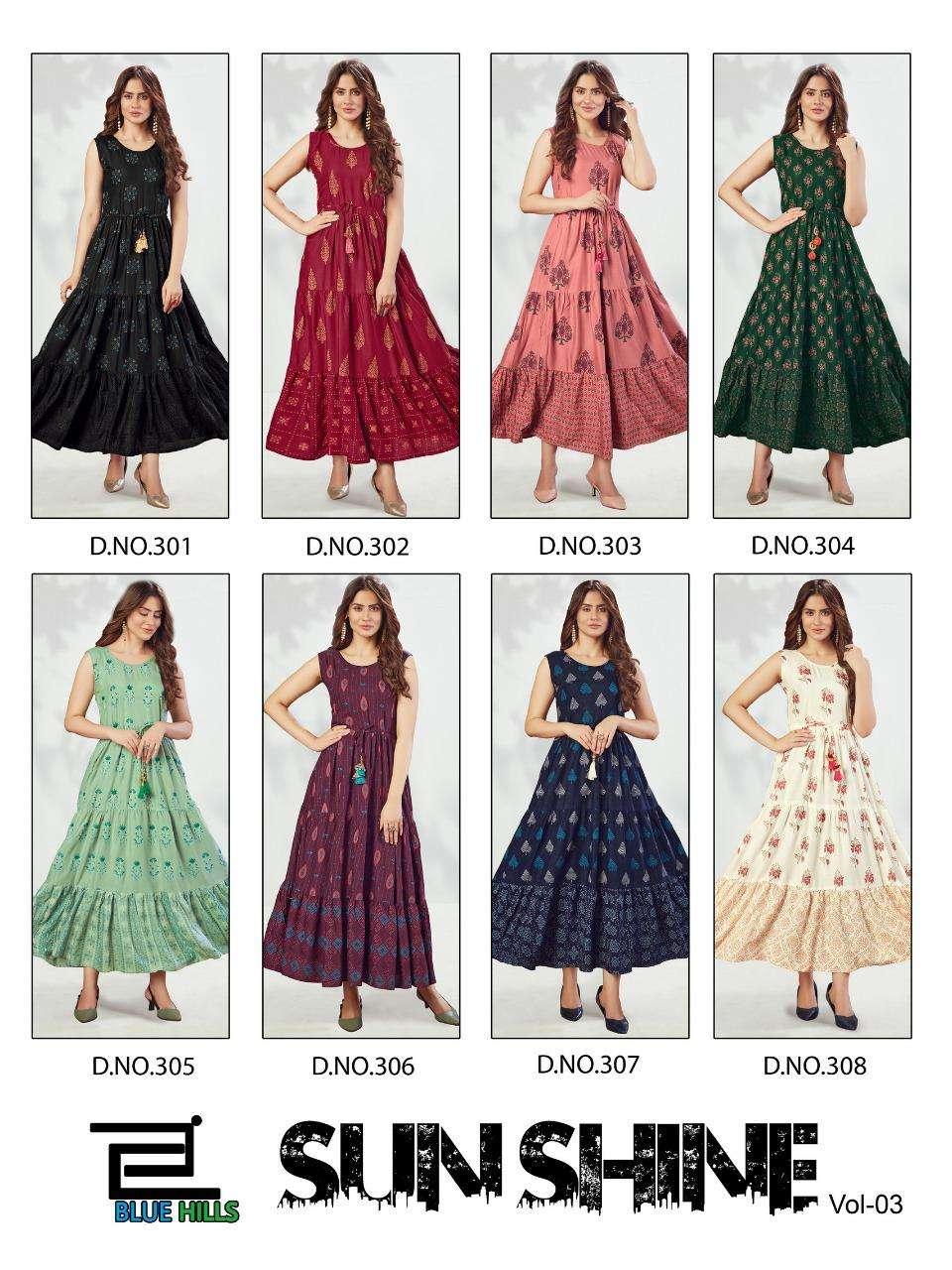 Blue Hills Sun Shine Vol 3 Rayon Print Long Maxi Kurtis collection