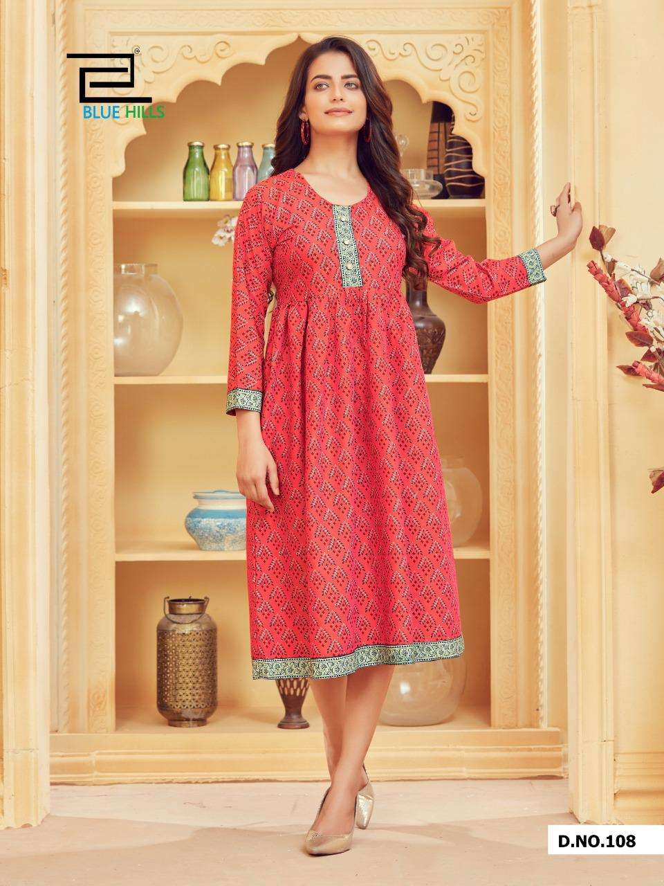 Blue Hills Velly Vol 1 Rayon Two Tone Printed Kurtis collection