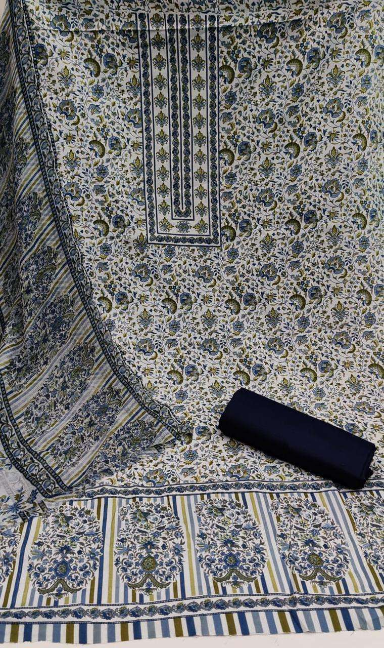 COTTON WITH FLORAL PRINT AND BUTTON AND TUSSELS DRESS MATERIAL