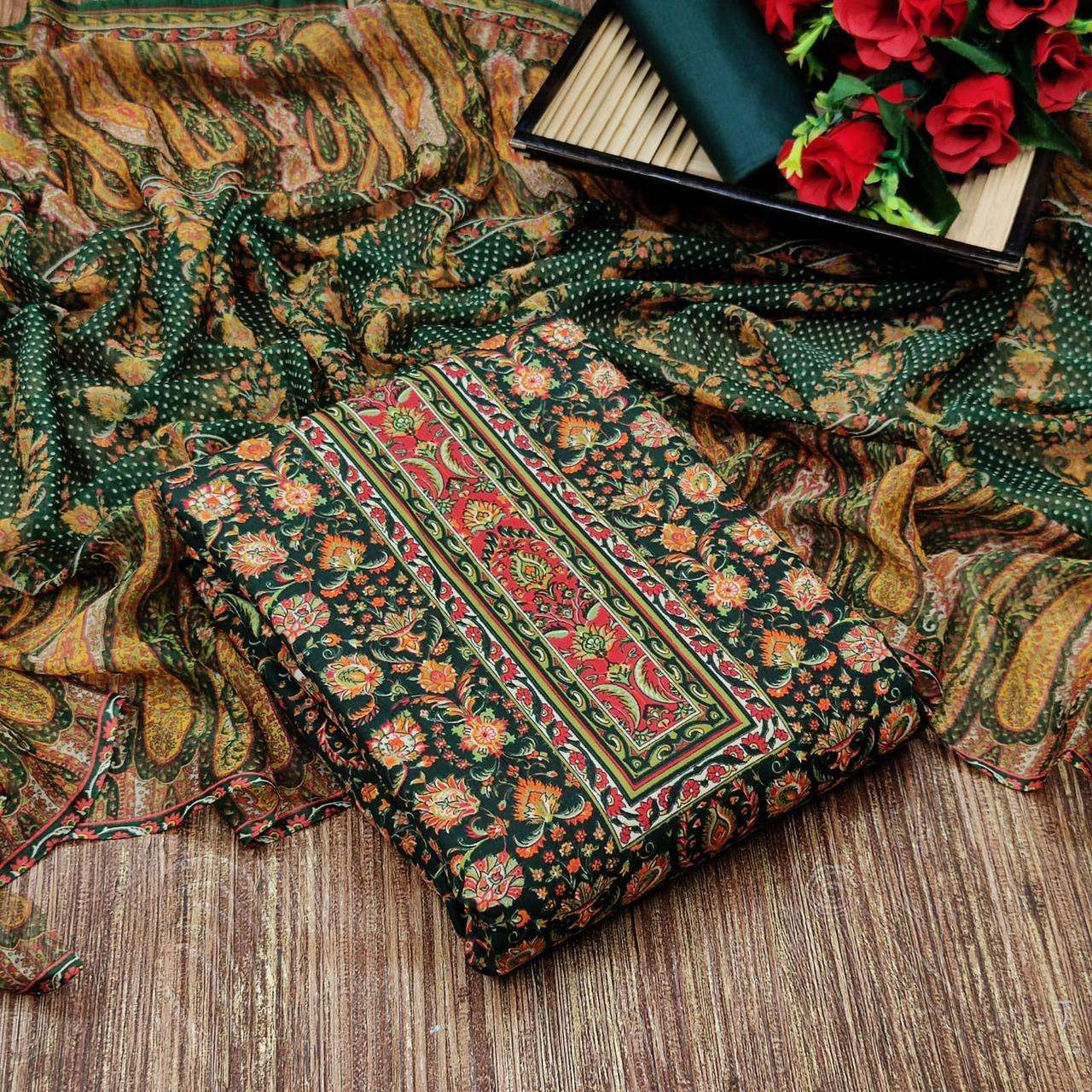 Cotton With Floral Printed Regular Wear Dress Material Collection 01
