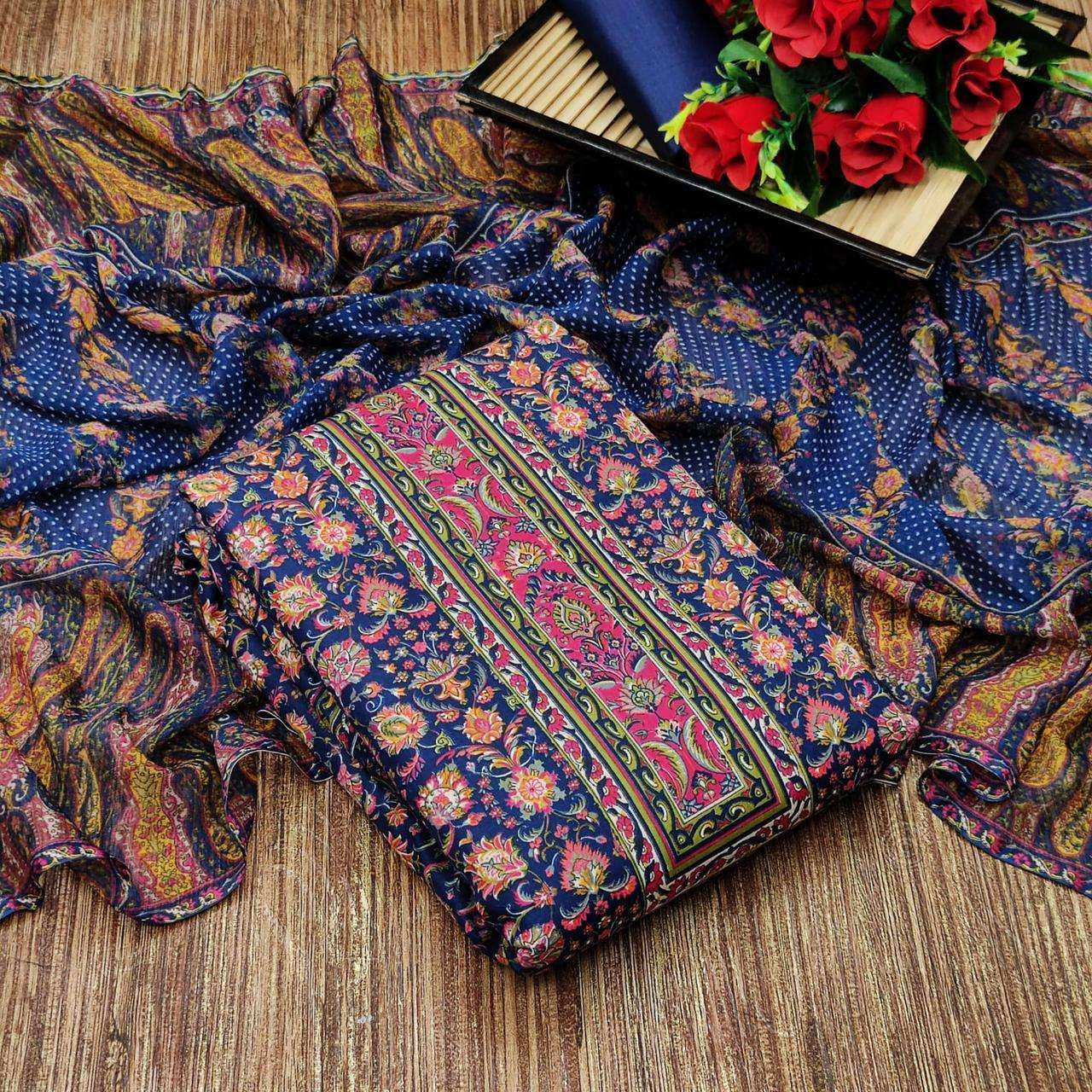 Cotton With Floral Printed Regular Wear Dress Material Collection 02