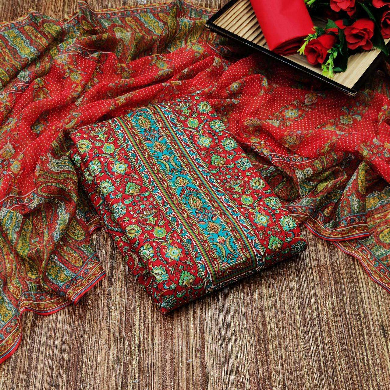 Cotton With Floral Printed Regular Wear Dress Material collection