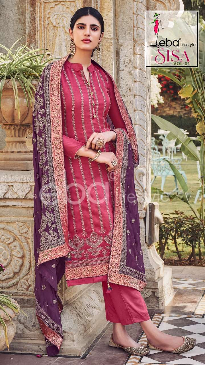 Eba Lifestyle Sisa Vol 1 Heavy chinon with Embroidery Work Dress material collection
