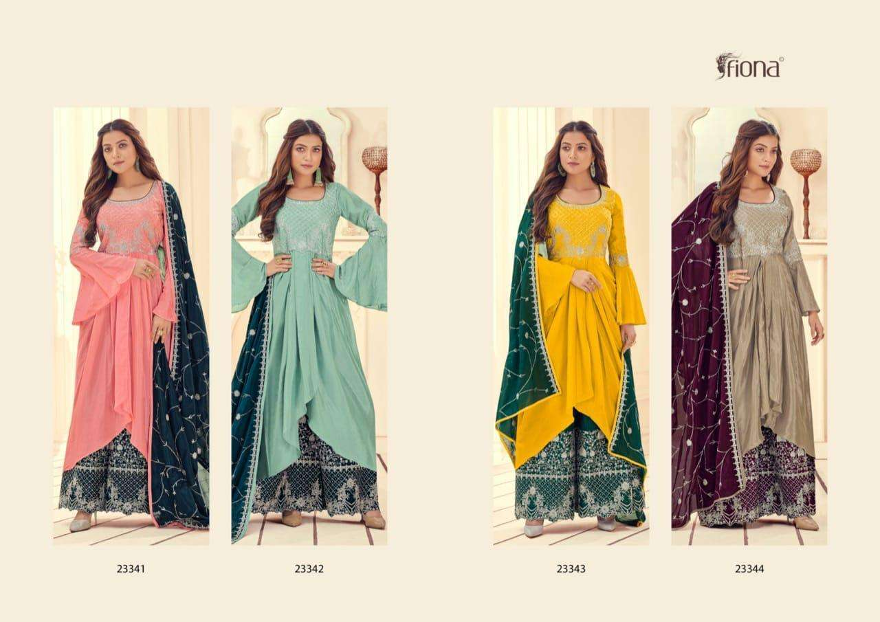 Fiona Manyata Chinon With embroidery Work Sharara Suits Collection