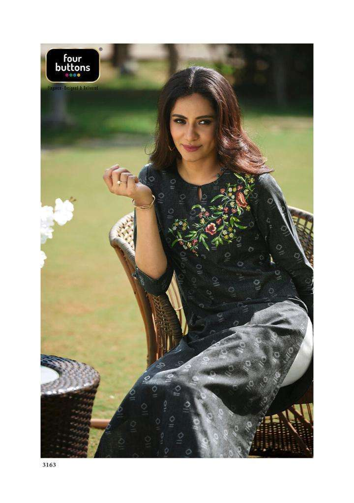 Four Buttons Basil Vol 2 Cotton With Placement Embroidery Work Kurtis collection