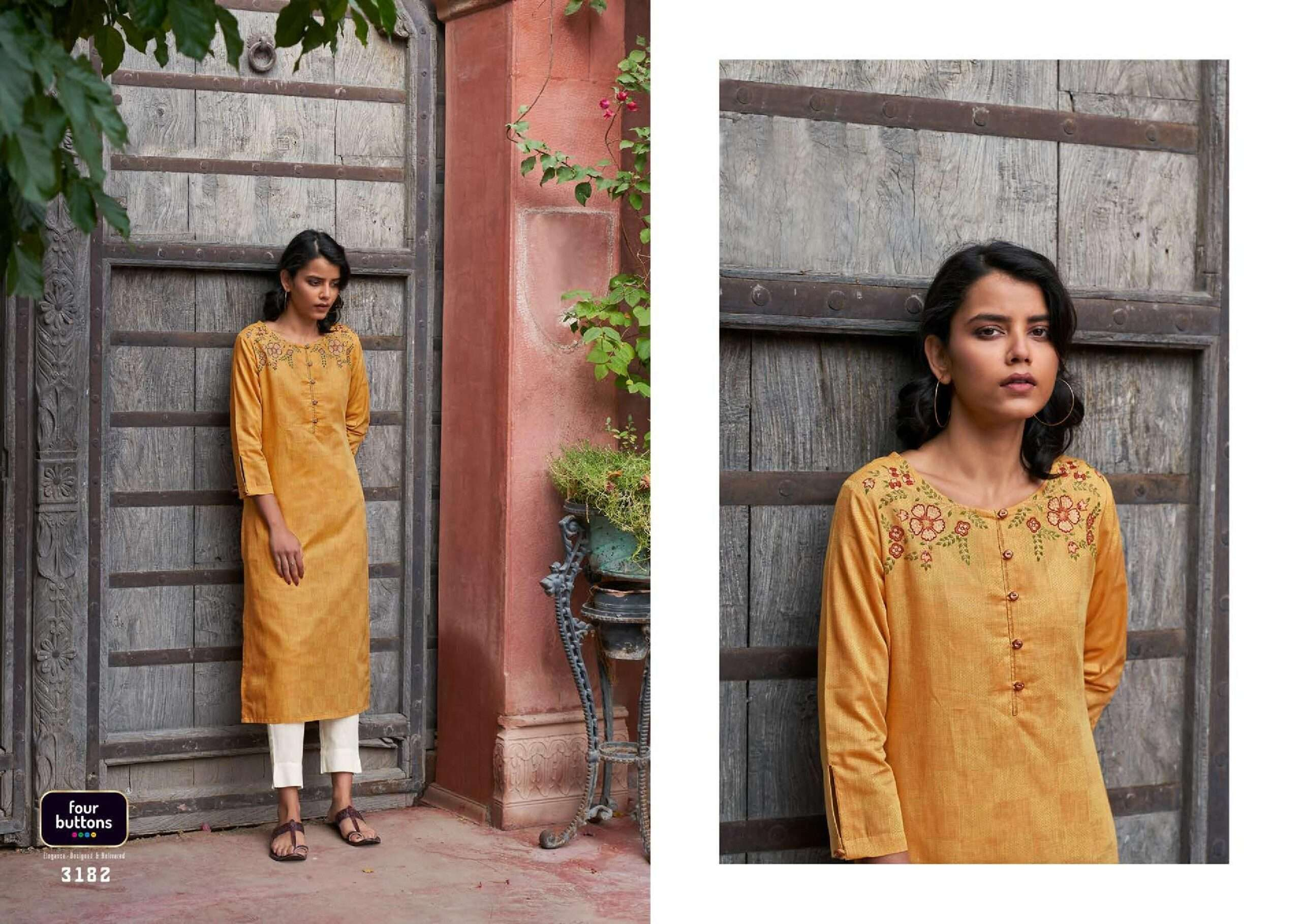 Four Buttons Plum Vol 2 Pure Woven Cotton Checks with Embroidery Work Kurtis collection