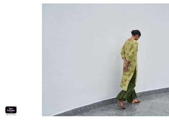 Four Buttons Vintage Pure Khadi Cotton Floral Print With Work Kurtis collection