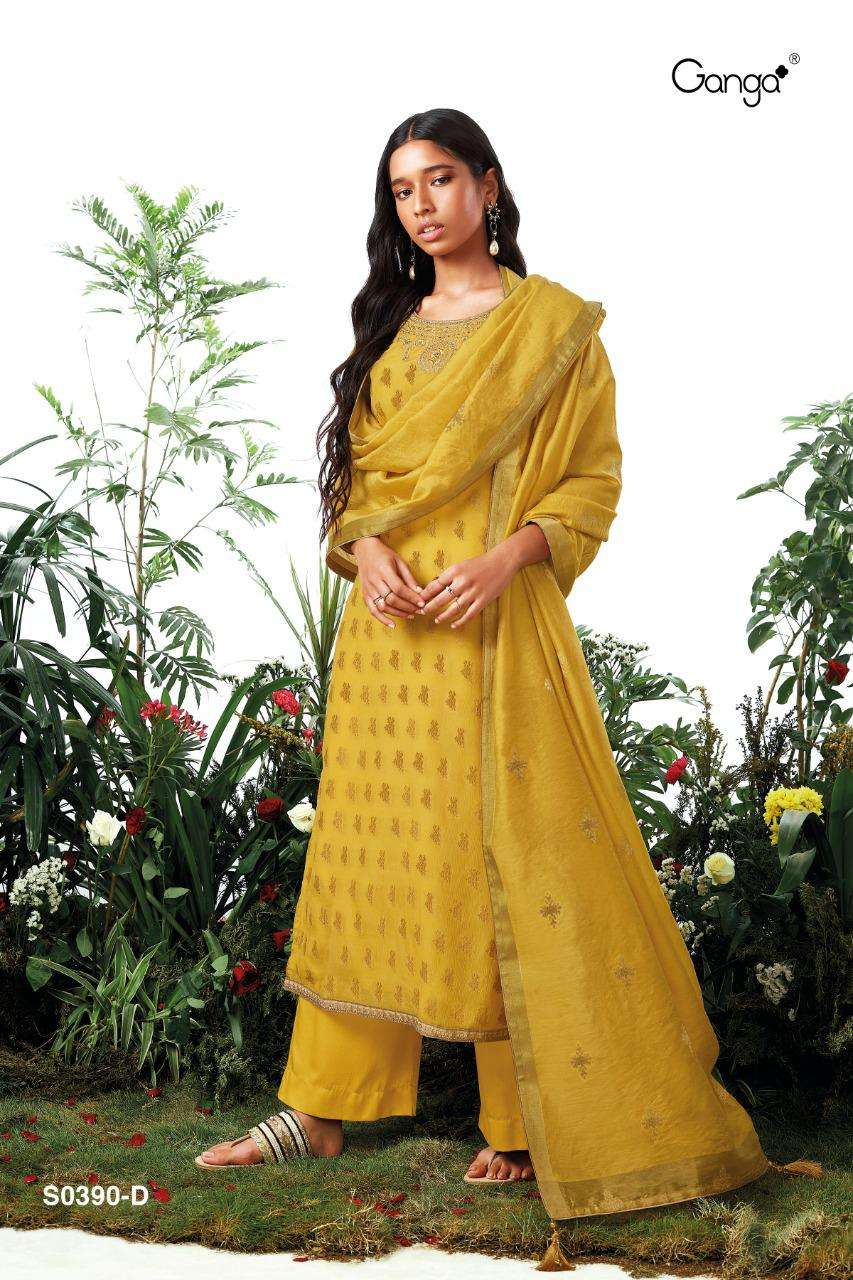 Ganga Gloria 390 Series Cotton jacquard with Hand Embroidery Work Designer Suits collection