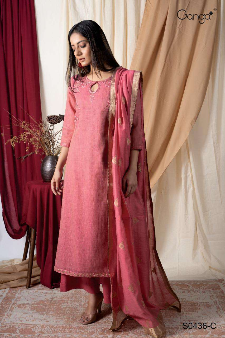 Ganga Greetha Finest Woven solid With Embroidery Hand Work Dress Material Collection