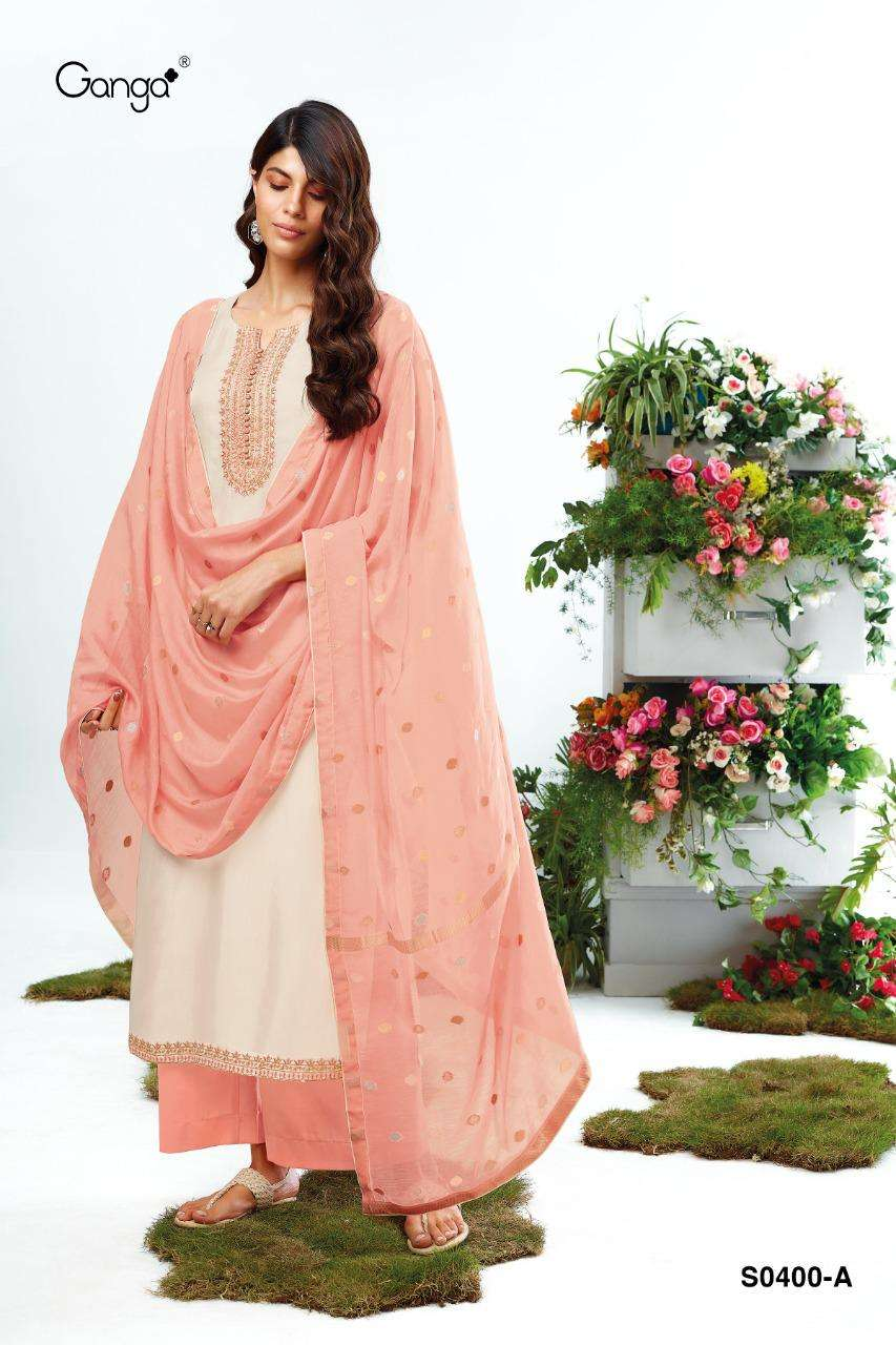 Ganga Lyla 400 Series Habutai Silk Solid With Embroidery work Dress Material collection