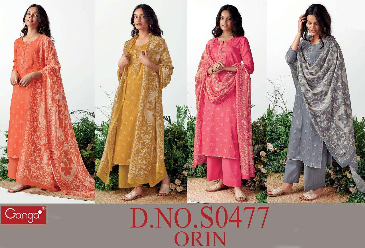 Ganga Orin 477 Series Satin printed With Embroidery Work Dress Material Collection